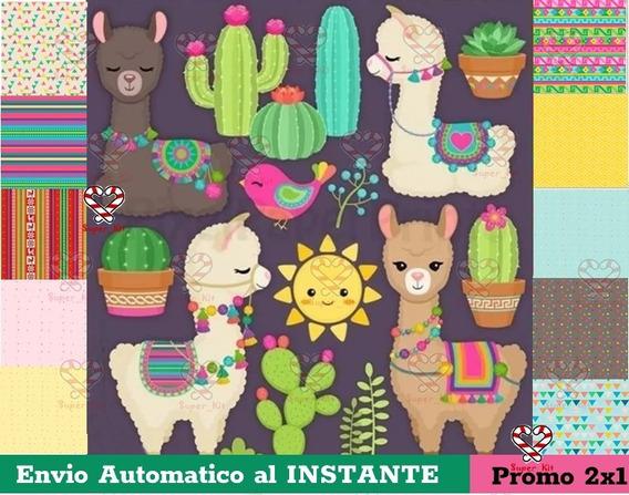 Kit Imprimible Llamas Cactus Cliparts + Fondos Hd Promo 2x1