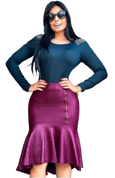 Saia Mullet Dress Sereia Babado Cintura Zíper Moda Cristã