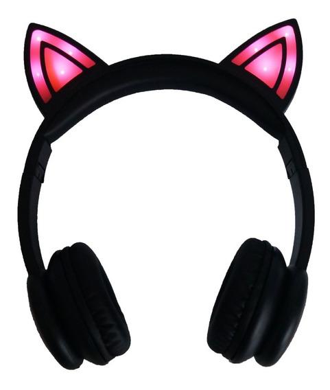 Fone Headset Headphone C Microfone Led Gatinho P2 Celular
