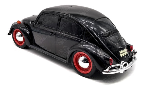 Volkswagen Beetle Fusca Preto Escala 1:18 24 Cm Plástico