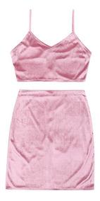 Terciopelo Bralette Superior Y Lado Cremallera Mini Falda