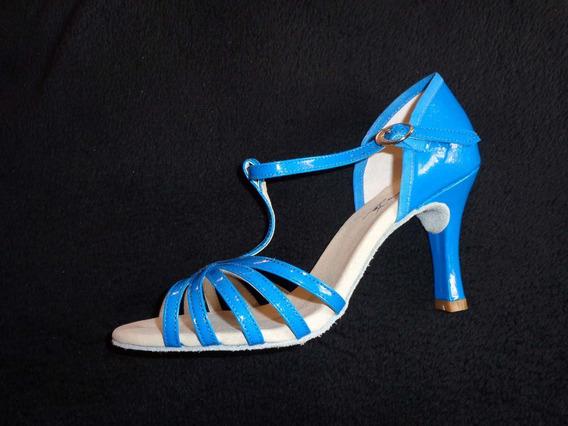 Sandália Capezio Azul Couro Verniz Glitter - Dança De Salão