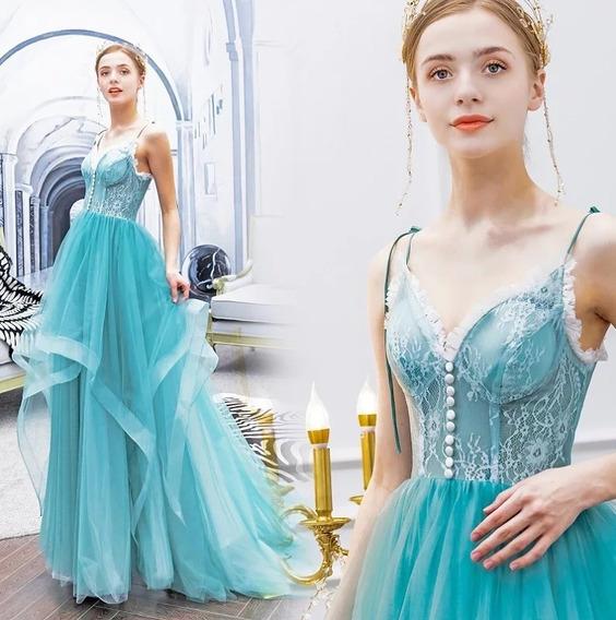 Vestido Fiesta De Noche Largo Azul Aqua Alp-190415002