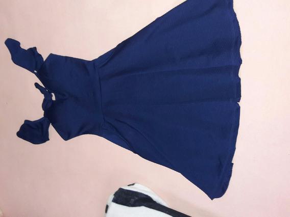 Vestido, Na Cor Azul Forte, Com Bolsinhos, Tamanho (p)