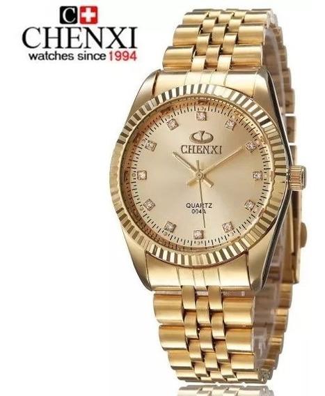 Relógio Cravejado Feminino Original Natate Chenxi Dourado