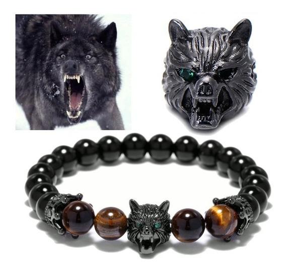 Pulseira Lobo Obsidiana Olho De Tigre Coroa Black Wolf