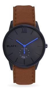 Reloj Black21 Poker Blue Tan - Malla De Cuero Marron