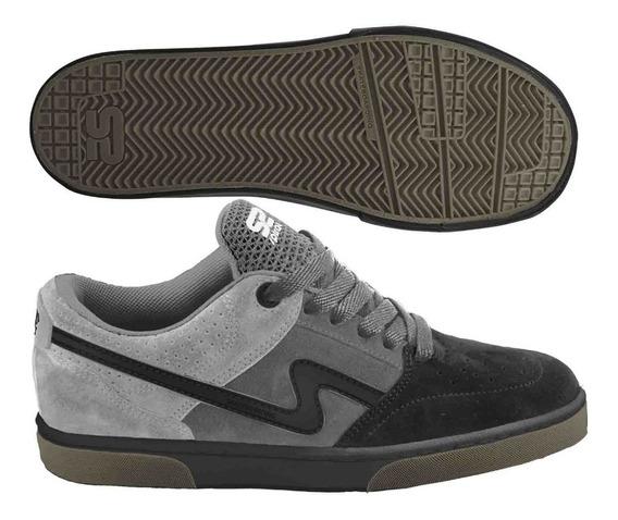 Zapatilla Urbana Spiral Cosida Cuero Descarne Skate Negro Gr