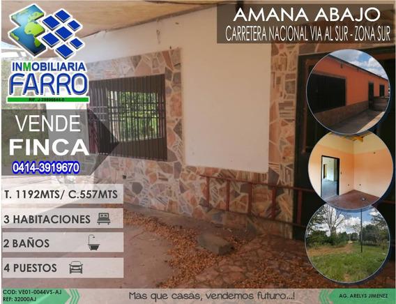Venta De Finca Via Al Sur Ve01-0044vs-aj