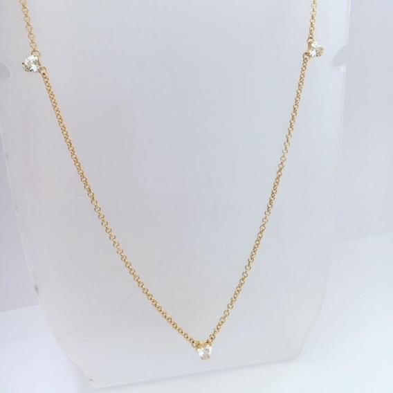 Colar Semi-jóia Banhado Ouro Corações Zirc.brancas 5087