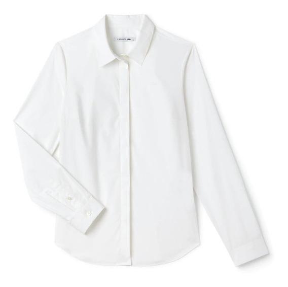 Camisa Lacoste Slim Fit Feminina Em Popeline De Algodão