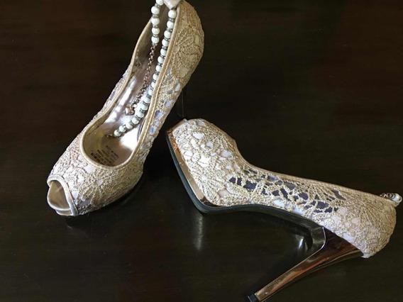 Zapato De Fiesta C/pulsera De Perlas!!!!