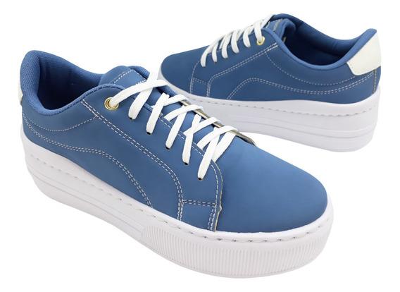 Tênis Feminino Amábile Shoes Flatform De Cadarço Spt532a