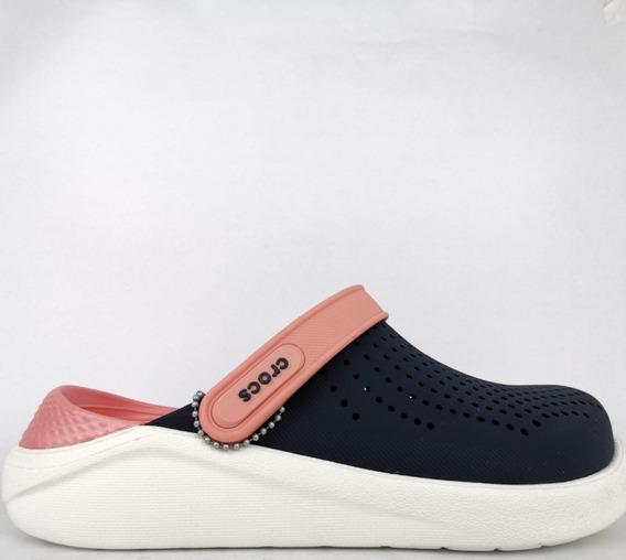Sandália Crocs Literide Clog Navy Conforto Azul Rosa Claro