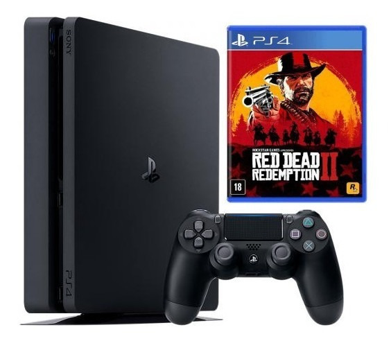 Playstation 4 Ps4 Slim 500gb + Controle + Red Dead 2