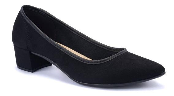 Sapato Scarpin Feminino Preto E Nude Moleca Salto Baixo 3td1