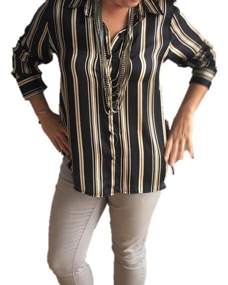 Camisa Blusa Acetato Rayada Mujer Dos Colores Manga Larga