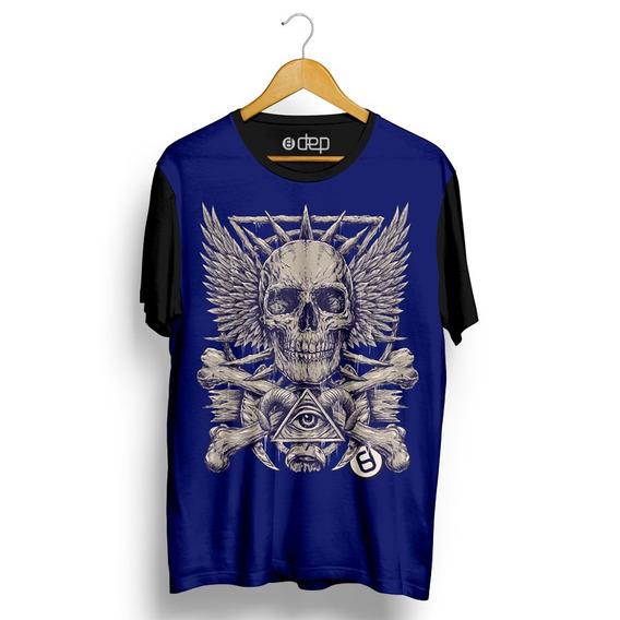 Camiseta Dep Amuleto Caveira Azul