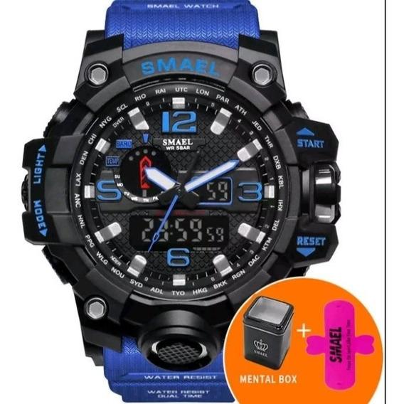 Relógio Smael Azul E Preto A Prova D Água Original Promação
