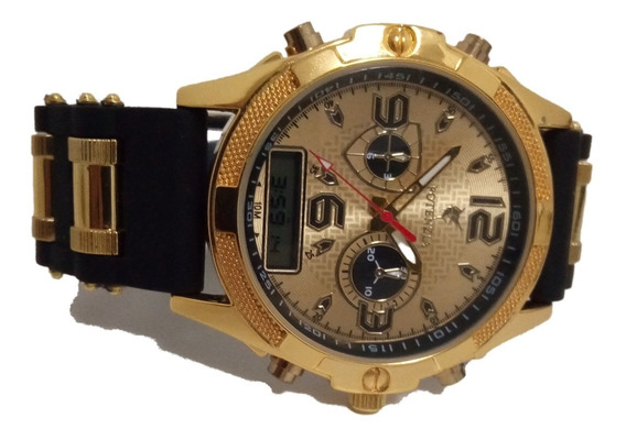 Relógio Masculino Dourado Potenzia Original Promoção Barato