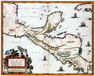 Lienzo Tela Mapa Antiguo Yucatán Guatemala Honduras 1650