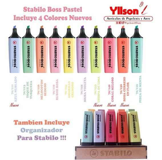 10 Stabilo Boss Pastel Incluye Nuevos Colores Y Organizador
