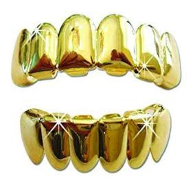 Grillz Combo Conjunto 6 Dentes + 1 Dente Cor Ouro Top