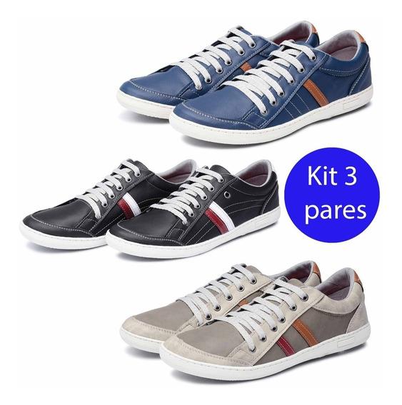 Kit 3 Pares Sapatênis Avalon Kit 26 Cinza/pretovermelho/azul