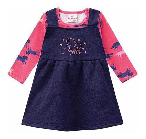 Vestido Bebê Body Brandili Manga Longa Menina Inverno P M G