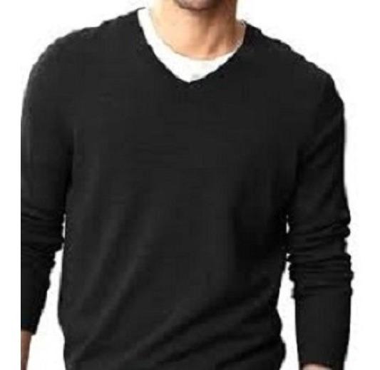 Suéter Sweater Unicolor Cuello V Cuello Redondo De Capucha