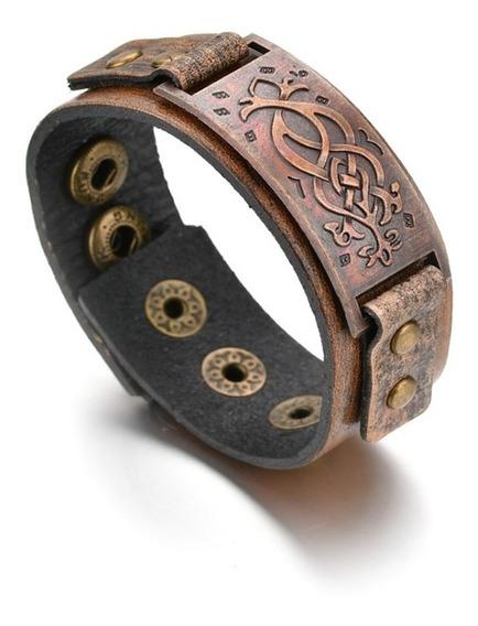 Pulseira Masculina Couro Vikings Bracelete Tribal Ajustavel