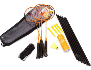 Kit Badminton 4 Raquetes Com 3 Petecas E Rede - Vollo Vb004