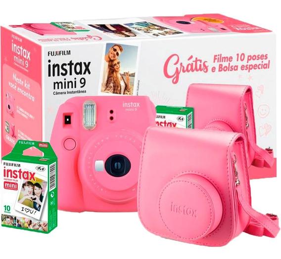Máquina Fotográfica Instax Fujifilm Mini 9 Filme 10 E Bolsa