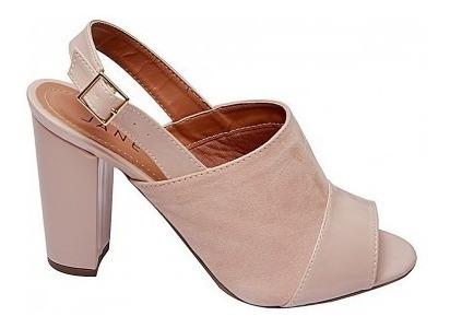 Sandália Salto Alto Grosso Rosa Bebe Meia Pata 10cm Sapato