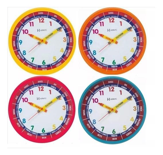 Relógio Parede 25cm Herweg Educativo Infantil 6690 Amarelo