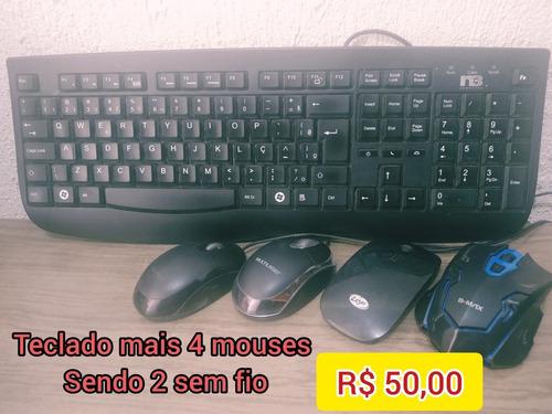 Computador Completo Cpu, Teclado, Monitor 14 E Mais 4 Mouse