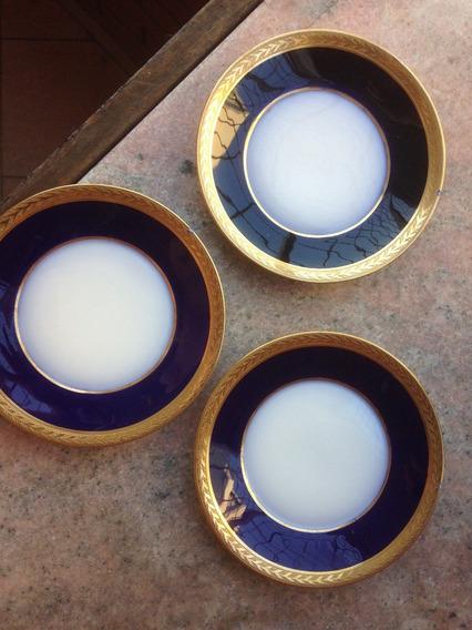3 Platos De Pan De Limige Azul Cobalto Y Oro Con Deterioros