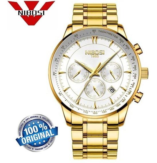 Relógio Masculino Nibosi 2351 Casual Dourado De Luxo