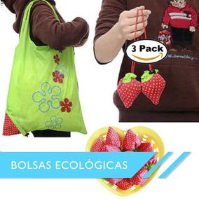 b8d1c40bc Bolsas Reutilizables Ecológicas 3 Piezas Super Mercado Fresa