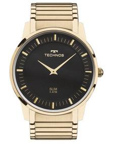 Relógio Technos Masculino Dourado Gl20aq/4p Slim Original