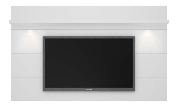 Painel Para Tv Horizon C/ Led Branco Gloss 217cm