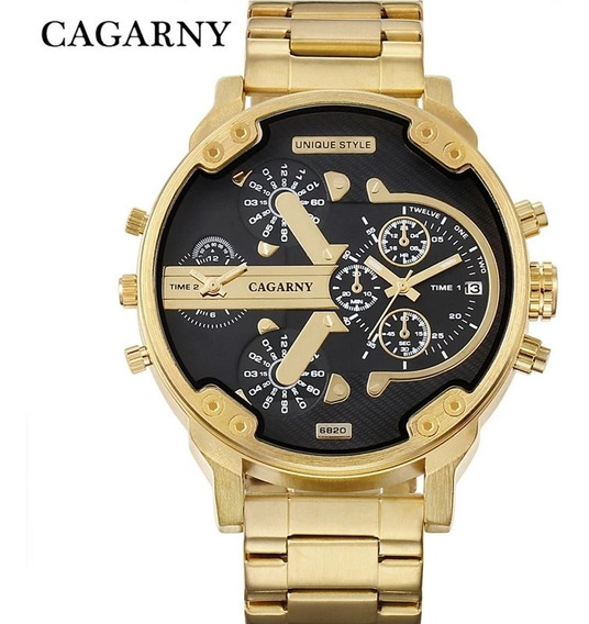 Relógio Masculino Cagarny Original Aço Inox Lançamento