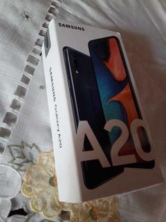 Samsung A20 Azul 32gb+vidrio Protector Y Funda Vendo/permuto