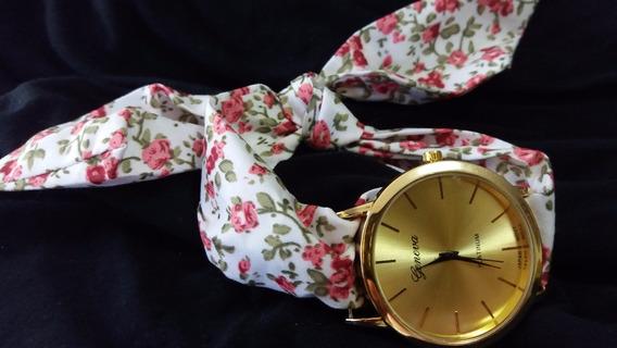 Promoção Lindo Relógio Hip Chic Tecido Floral 39
