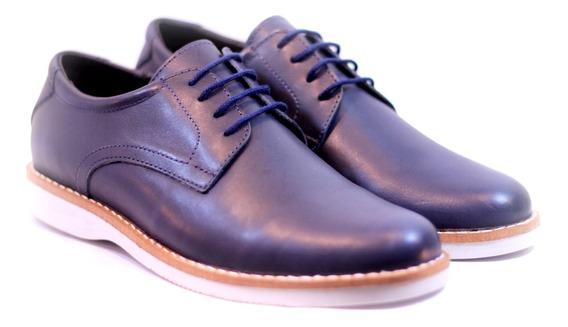 Zapatos Urbanos Darmaz 1871 100% Cuero Azul Negro Suela