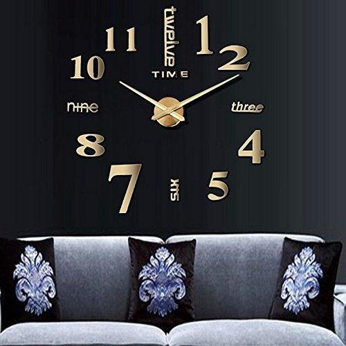 Reloj De Pared Adhesivo Moderno Grande 3d Color Oro