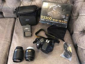 Câmera Nikon D3300 18-55 Vr Ii Kit Com Duas Lentes!