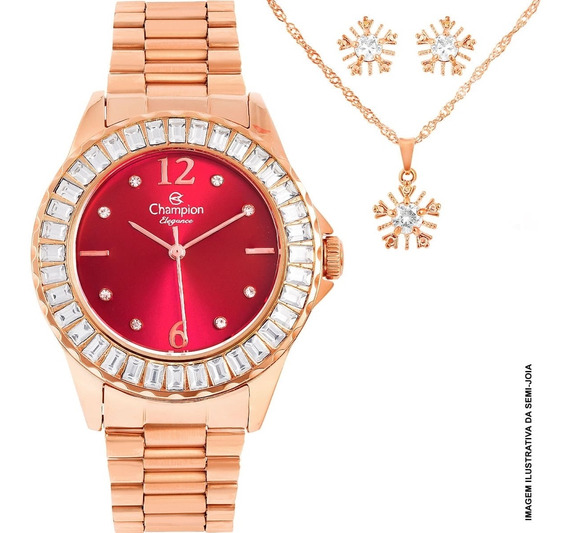 Relógio Feminino Champion Cn24299l Kit