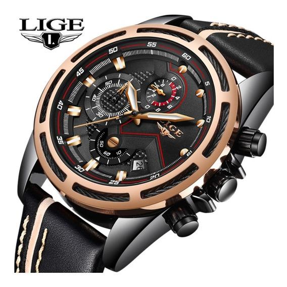 Relógio Masculino Lige 9882 Luxo Casual Social Esportivo