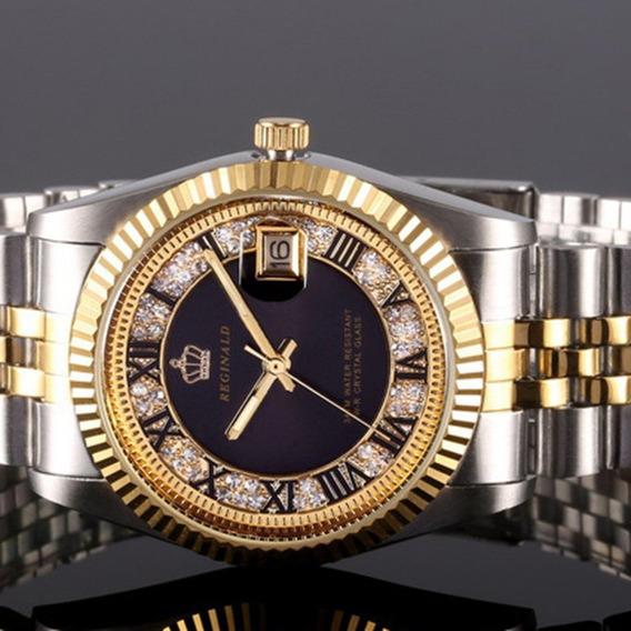Relógio De Quartzo Slim Pulseira De Aço Redondo Mostrador Pr